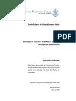 Bastos Junior, P. R. O. – Elicitação de Requisitos de Software Através Da Utilização de Questionários