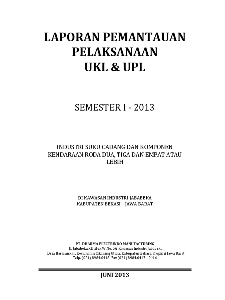 Contoh Laporan Semester Ukl Upl Rumah Sakit Kumpulan Contoh Laporan