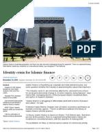 Identity Crisis for Islamic Finance