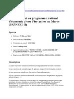 Projet d Appui Au Programme National d Économie d Eau d Irrigation Au Maroc-doukkala 2014