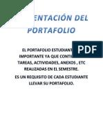 Presentación Del Portafolio