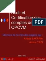 Audit Et Certification Des Comptes Des OPCVM