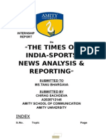 Sports News Analysis and Reporting-times of India