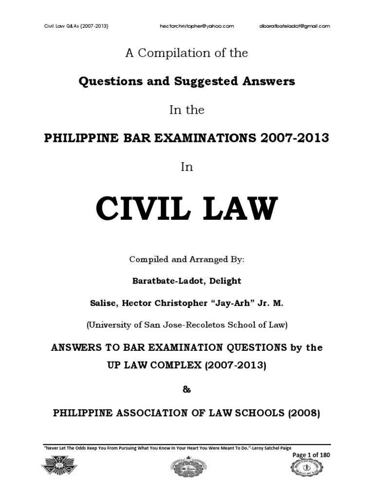 2007-2013 Civil Law Philippine Bar Examination Questions and