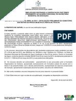 Edital 007 - Processo Seletivo 2015 - Resultado Parcial de Médias