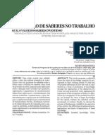 A PRODUÇÃO DE SABERES NO TRABALHO