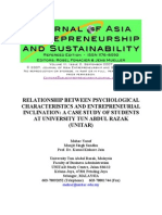 RELATIONSHIP BETWEEN PSYCHOLOGICAL Characteristic and Entrepreneur Inclination