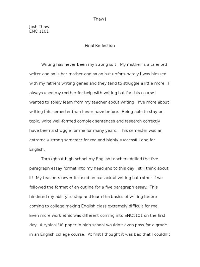 Final reflection essay popular descriptive essay editor websites ca