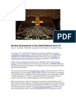 Nuclear disarmament as the UN turns 70 by G. Quinlan