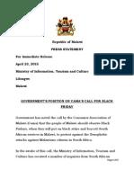 Govt statement on Malawi's 'Black Friday'