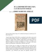 Acerca de La Deposición Del Papa en Juan de Santo Tomás