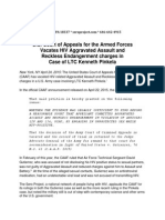 U.S. Court of Appeals for the Armed Forces Vacates HIV Aggravated Assault and Reckless Endangerment charges in Case of LTC Kenneth Pinkela (Sero Project, Press Release, 24 April 2015)