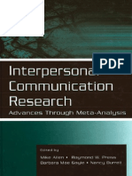 Interpersonal Communication Research -- Advances Through Meta-Analysis