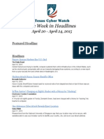 Texas Cyber Watch Clips, April 20-24, 2015