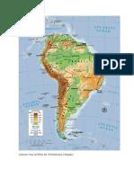 Mapa de Sudamerica Con La Trayectoria de La Cordillera de Los Andes