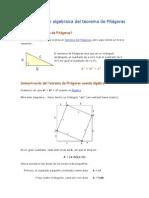 Demostración Algebraica Del Teorema de Pitágoras