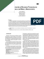 Articulo - 2009 - Recursos Tecnologicos en Clinica Con Adolescentes y Niños - Perspectiva TCC