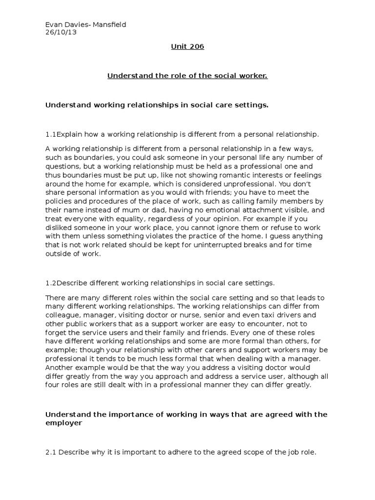 describe different working relationships in social care settings