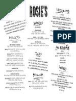 Rosie's Menu