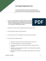 Starter Program Application Form For E-Prime Starter Programme