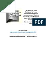 Fabelo Corzo, José R. El Aporte de Zaira Rodríguez Ugidos Al Pensamiento Axiológico Latinoamericano - Revista Cubana de Filosofía, 2009, N.14