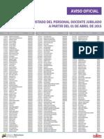 Personal Docente Jubilado Abril 2015
