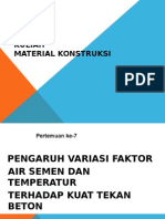 Pengaruh Variasi Faktor Air Semen