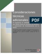 Consideraciones técnicas adicionales 1 Al expediente N° 2443500 Tía María-SPCC que solicita título de concesión de beneficio y autorización de funcionamiento de la planta.