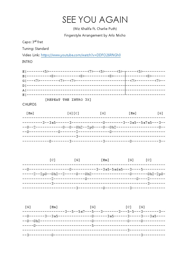 See You Again - Fingerstyle Guitar Tabs