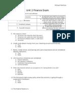 unit post-assessment finance unit 2 exam