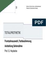 Totalprothetik Frontzahnauswahl Aufstellung Seitenzaehne UKE