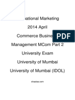 Shaalaa.com - शाला.com - International Marketing - 2014 April - Commerce Business Management MCom Part 2 - University Exam - University of Mumbai - University of Mumbai (IDOL) - 2014-09-11