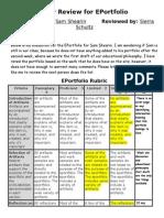 peer review for eportfolio ss