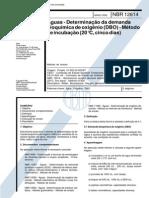 NBR 12614 - Aguas - Determinacao Da Demanda Bioquimica de Oxigenio (DBO)