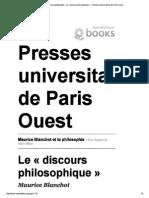 BLANCHOT - Le 'Discours Philosophique' (1971, Arc, Balbutiement)