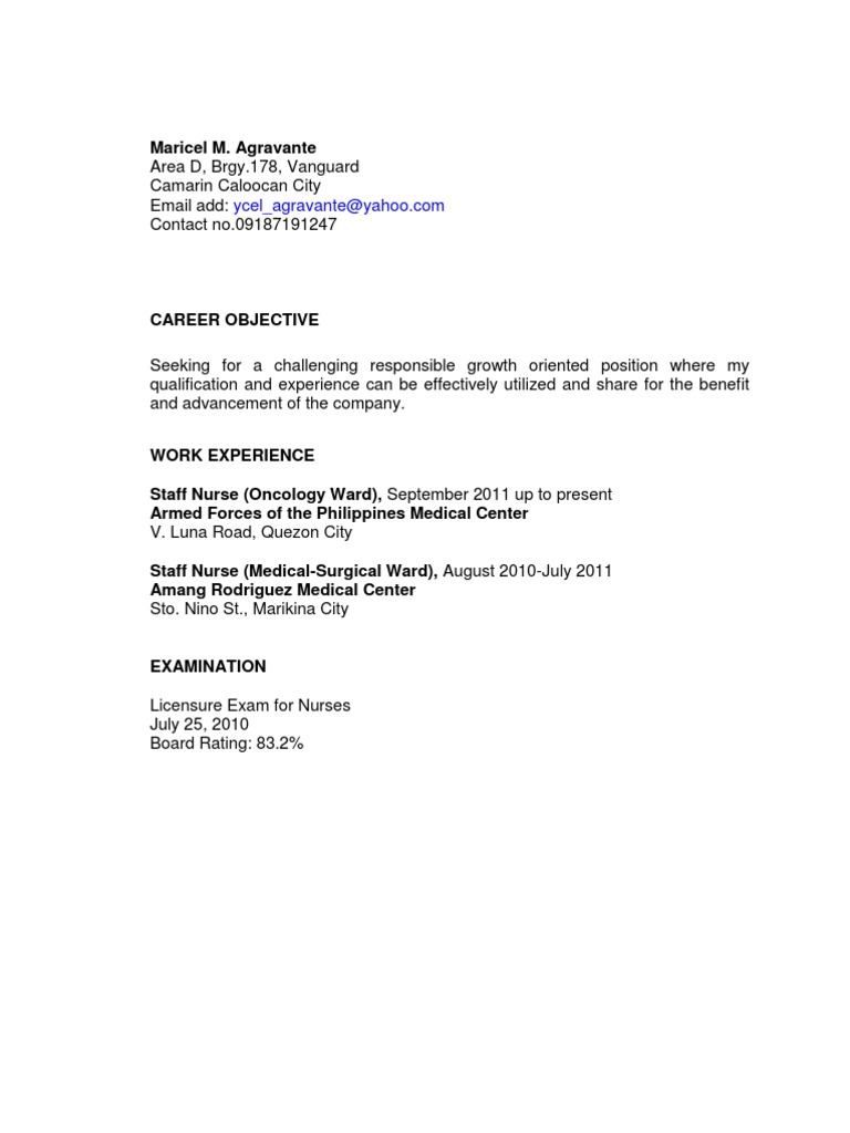 Nursing Manager Resume  Nursing Supervisor Resume