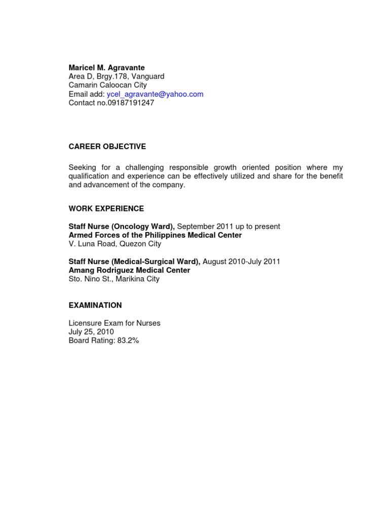 sample nursing resume - Sample Nursing Resume