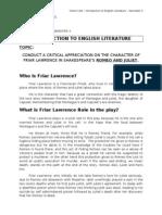 William Shakespeare' Romeo and Juliet - Friar Lawrence Critical appreciation (Semester 3)