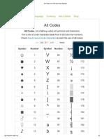 Alt Codes List of Alt Key Codes Symbols