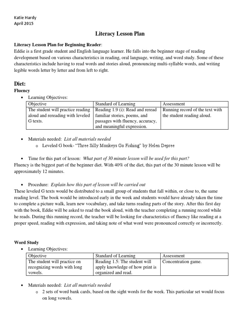 hardy beginner lesson plan | Reading Comprehension | Reading (Process)