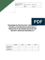 Programa de Protección y Prevención Contra La Exposición Ocupacional a Radiación Uv de Origen Solar en g4s Security Services Regiones s