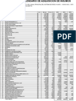 Calendario de Insumos y Materiales Huaro