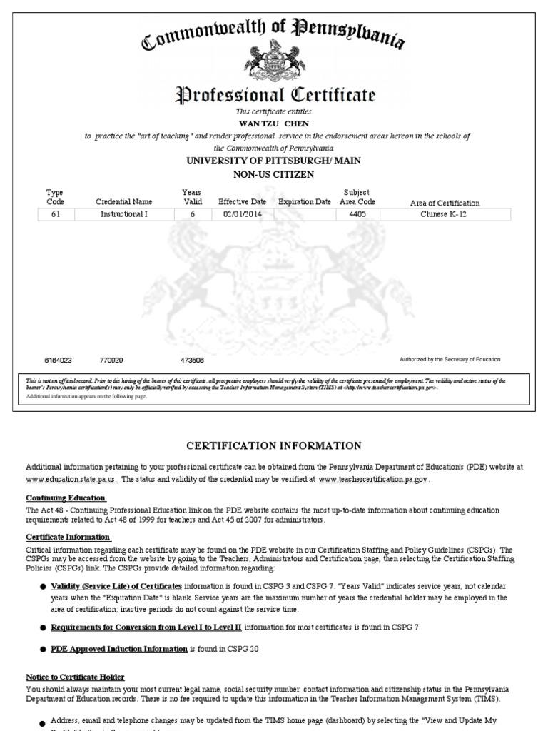 Pa Chinese Teaching Certificate Wan Tzu Chen Credential Social
