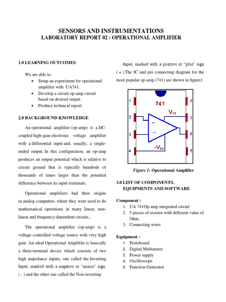 Sensor Lab Report Op Amp Operational Amplifier Multimeter Circuit With The Ic 741 Electronic Projects