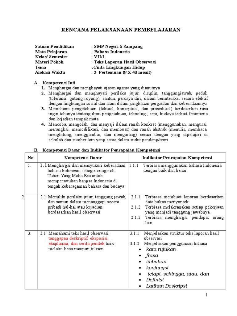 Rpp 1 Teks Lap Hasil Observasi 2