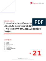 21. Absolute Beginner #21 - The Te-Form of Class 1 Japanese Verbs - Lesson Notes