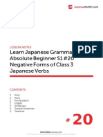 20. Absolute Beginner #20 - Negative Forms of Class 3 Japanese Verbs - Lesson Notes