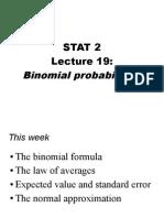 Binomial Probabilities - Lecture19