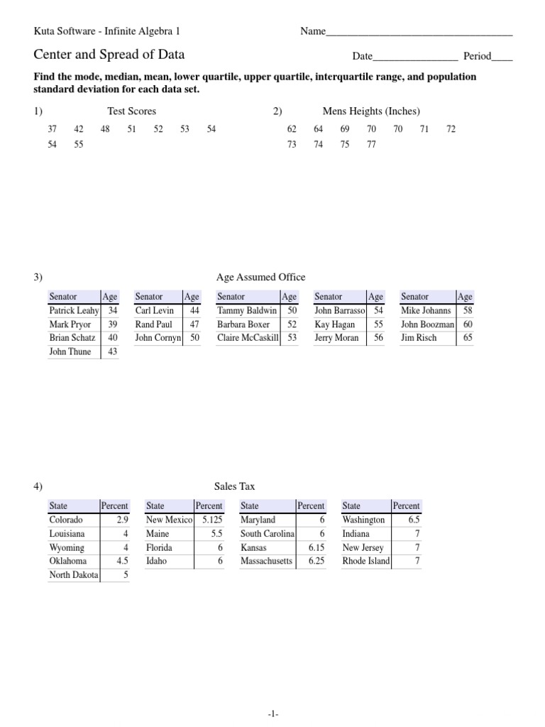 Center and Spread of Data – Kuta Software Infinite Algebra 1 Worksheet Answers