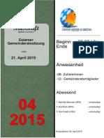 Eslarner Gemeinderatssitzungen, Mitschrift vom 21.04.2015